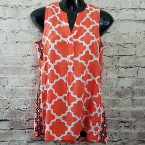 Crown & Ivy Hi-Low Sleeveless Orange & White Top